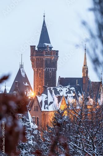 Fotografía  Ausblick auf das Schloss, Abends mit Beleuchtung