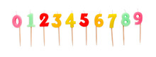 Set Of Birthday Candles Isolated On White Background