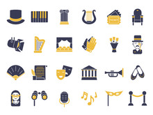 Monochrome Icon Set Of Theatre...