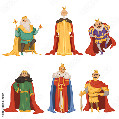 Cuadros en Lienzo Cartoon characters of big king in different poses