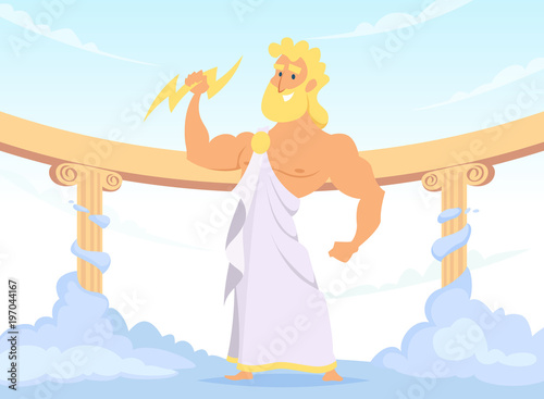 Photo  Zeus Greek ancient God of thunder and lightning