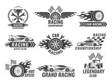 Monochrome Labels And Badges Of Sport Labels. Racing Cars