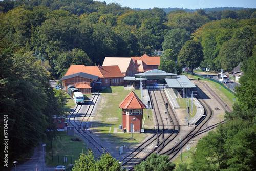 Foto auf AluDibond Bahnhof Vogelperspektive des Bahnhofs von Ahlbeck