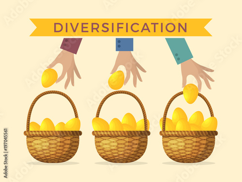 Business concept illustrations of diversification Wallpaper Mural