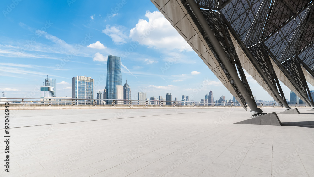 empty square floor front with cityscape