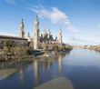 Zaragoza - The Basilica del Pilar and the riverside in morning light.