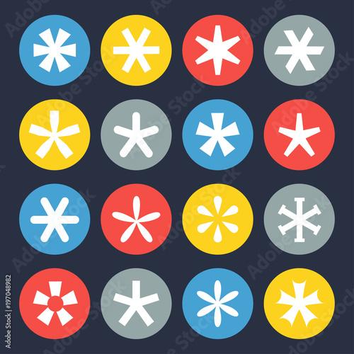 Asterisk symbol set Wallpaper Mural