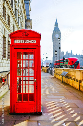 Foto op Canvas Londen Red telephone box and Big Ben in London.