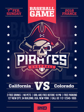 Modern Professional Sports Design Poster With A Baseball Tournament And The Skull In The Blue Theme