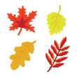 Pixel autumn leaves icons high vector set