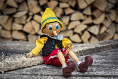 Old wooden pinocchio pupett marionette toy Wallpaper Mural