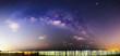 Milky way at the sea in dark night / Panorama of milky way at the sea