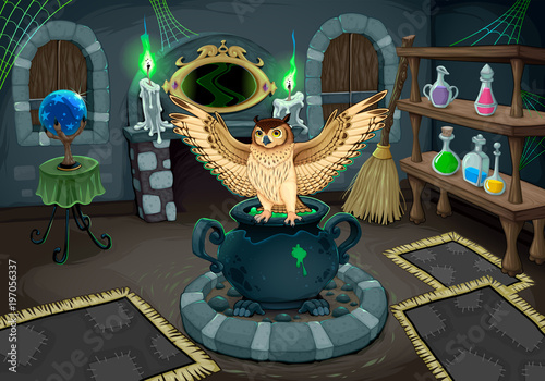 Poster Kinderkamer The witch room with owl