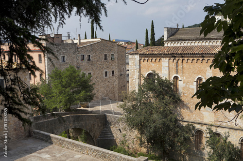 Foto op Aluminium Oude gebouw Top view of the castle and the Church in Girona, Spain. Sant Pere de Galligants