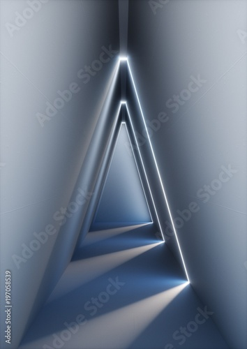 3d render, abstract interior background, illuminated empty corridor, concrete, glowing lines, daylight, shining triangular tunnel, no exit, minimalistic space