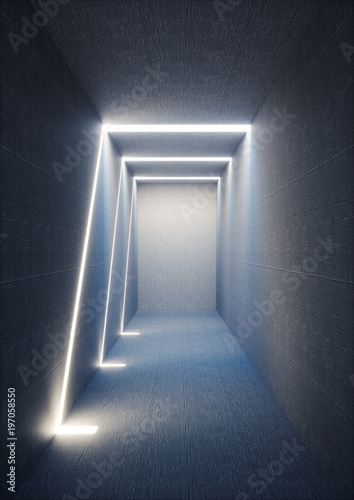 3d-render-abstract-urban-background-illuminated-empty-corridor-interior-concrete-walls-glowing-light-daylight-tunnel-no-exit