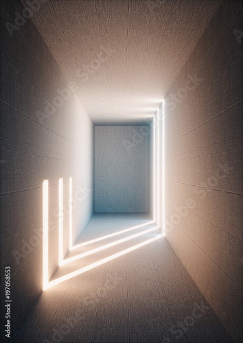 obraz lub plakat 3d render, abstract urban background, illuminated empty corridor, interior, concrete walls, glowing light, daylight tunnel, no exit