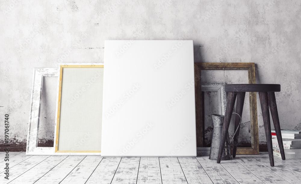 Fototapety, obrazy: Mock up artist's studio interior. 3d render