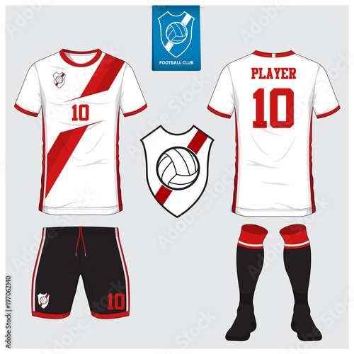 4765ee8fa Soccer jersey, football kit, t-shirt sport, short, sock template design for sport  club. Football t-shirt mock up. Front and back view soccer uniform.