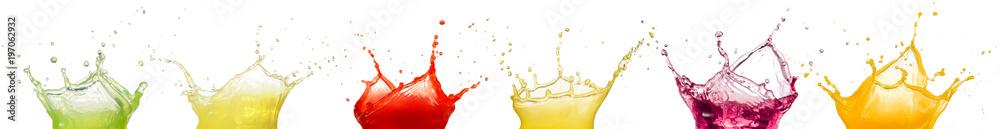 Fototapeta fruit juice splashes isolated on white background