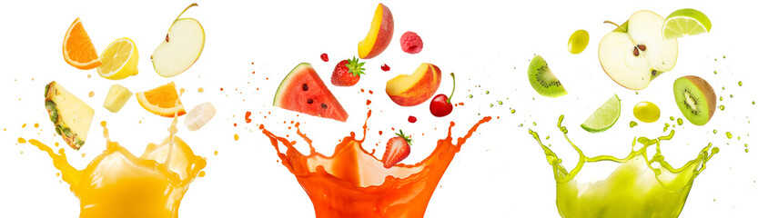 mixed fruit falling into juices splashing on white background