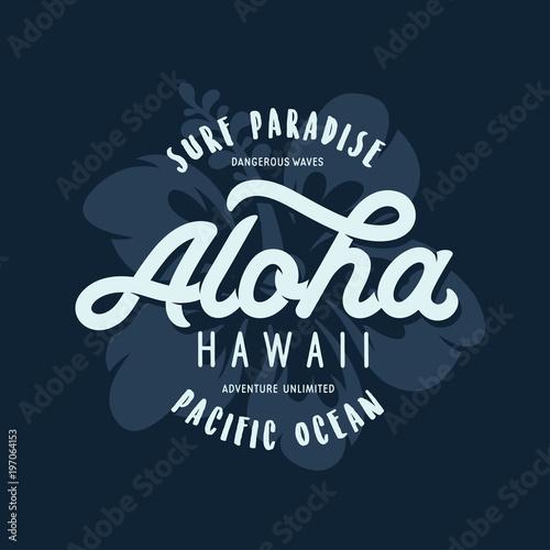 Aloha hawaii floral t-shirt print. Vector vintage illustration. Wallpaper Mural