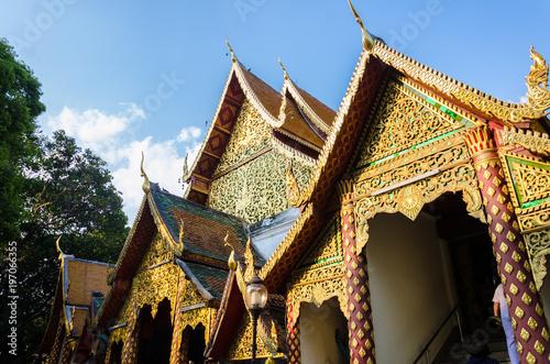 Deurstickers Bedehuis Wat Doi Suthep in Blue Sky and Cloud Chiang Mai Thailand