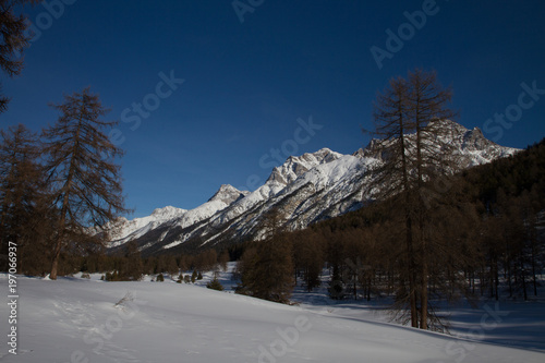 Piz Lischana, Piz S. Jon, Piz Ajuez, Underengadine in winter Canvas Print