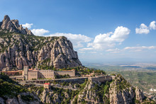 View Of The Monastery And The Mountains Of Montserrat. Barcelona, Catalonia, Spain.