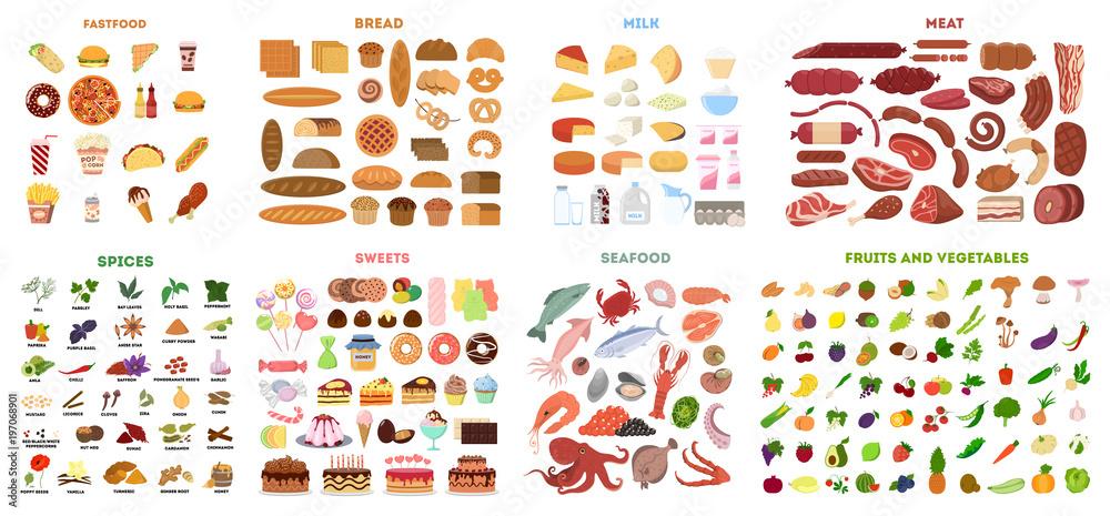 Fototapety, obrazy: All food set.