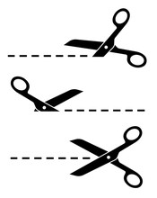 Set Scissors With Cut Lines. F...