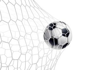 Panel Szklany Podświetlane Piłka nożna BALLON DE FOOTBALL DANS LE FILET fond blanc