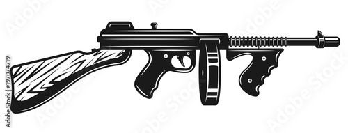 Fotografia Gangster submachine gun monochrome illustration