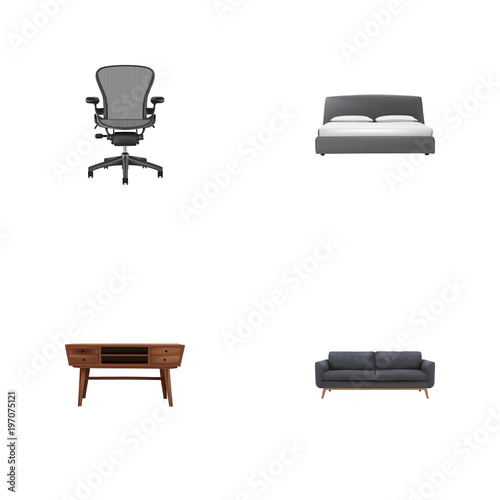 Cool Set Of Furniture Realistic Symbols With Settee Commode Cjindustries Chair Design For Home Cjindustriesco