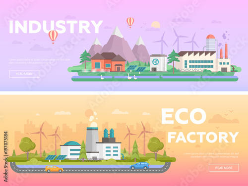 Tuinposter Purper Eco factory - set of modern flat design style vector illustrations