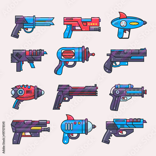 Cartoon gun vector toy blaster for kids game with futuristic handgun and raygun Canvas Print