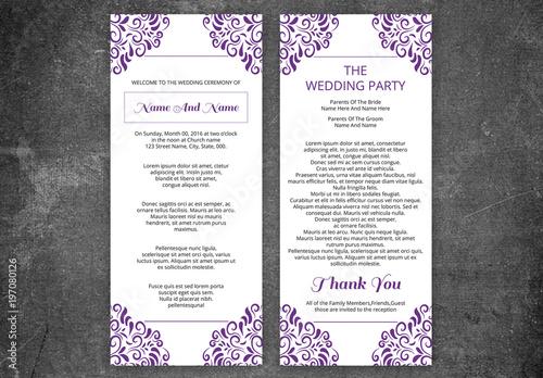 Wedding Program Layout With Purple Filigree Corners 1 Buy This