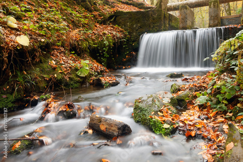 Recess Fitting Waterfalls Small waterfall in autumn