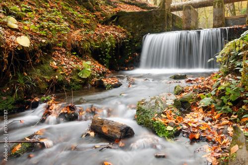 Wall Murals Waterfalls Small waterfall in autumn