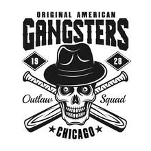 Gangster Skull In Hat With Baseball Bats On White