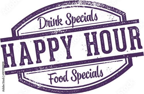 Valokuva Happy Hour Food & Drink Promotion Stamp