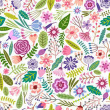 Flower Seamless Pattern. Small Colorful Flowers. Floral Ditsy Background