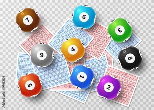 Lottery balls and bingo lucky tickets isolated on transparent background Poster