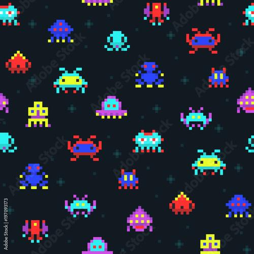sliczne-roboty-pikseli-kosmicznych-najezdzcow-retro-wideo-gra-komputerowa-bez-szwu-wektor-wzor