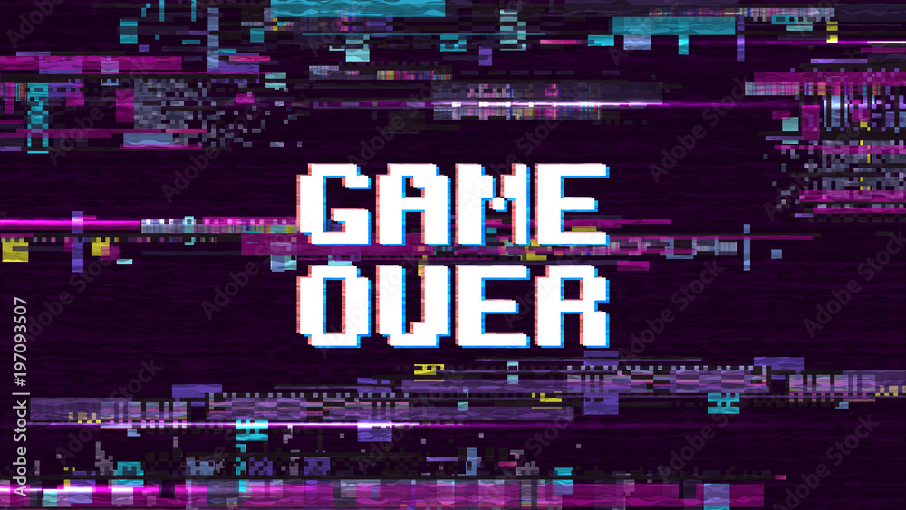 Fototapety, obrazy: Game over fantastic computer background with glitch noise retro effect vector screen
