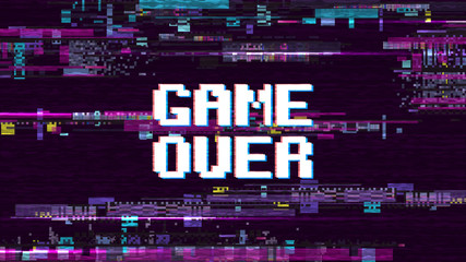 Game over fantastic computer background with glitch noise retro effect vector...