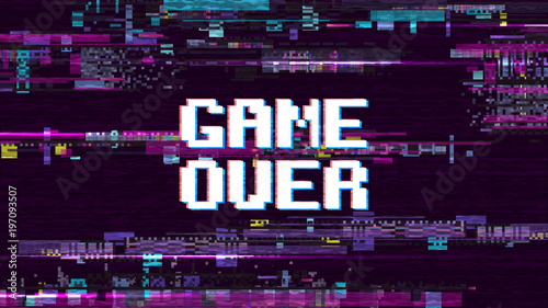 Fototapeta Game over fantastic computer background with glitch noise retro effect vector screen obraz