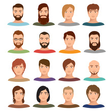 Adult Male Portraits Vector Co...