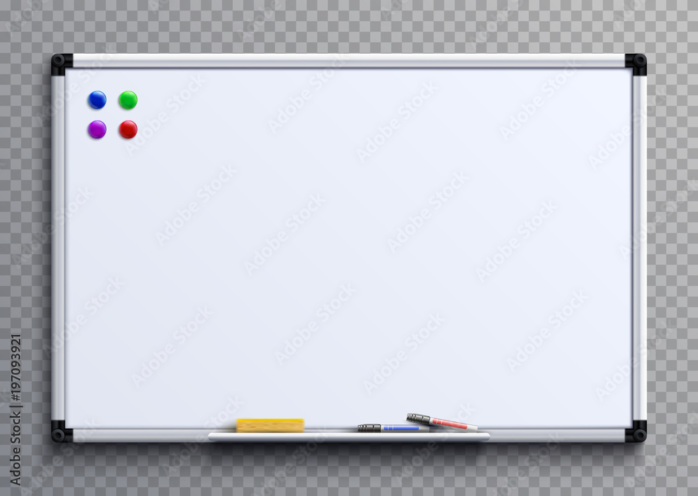 Fototapety, obrazy: Empty whiteboard with marker pens and magnets. Business presentation office white board isolated vector mockup
