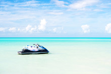 Jet Ski On Turquoise Sea Water In Antigua. Water Transport, Sport, Activity. Speed, Extreme, Adrenaline. Summer Vacation On Caribbean. Wanderlust, Travel, Trip. Adventure, Discovery, Journey